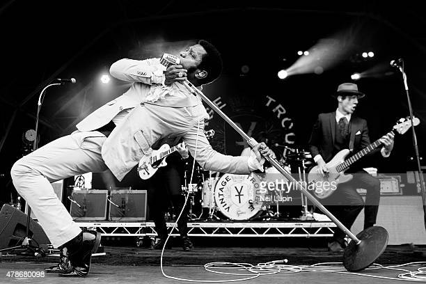 Ty Taylor of Vintage Trouble peforms at Hyde Park on June 26 2015 in London United Kingdom