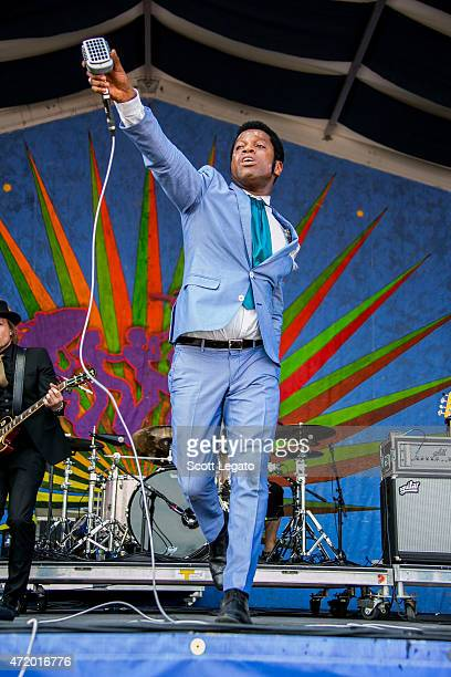 Ty Taylor of Vintage Trouble performs during 2015 New Orleans Jazz Heritage Festival Day 6 at Fair Grounds Race Course on May 2 2015 in New Orleans...