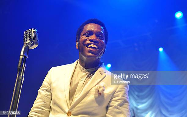 Ty Taylor of Vintage Trouble performs on stage at the O2 Forum Kentish Town on June 22 2016 in London England