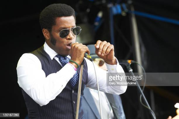 Ty Taylor of Vintage Trouble performs on stage during the final day of Kendal Calling Festival at Lowther Deer Park on July 31 2011 in Kendal United...