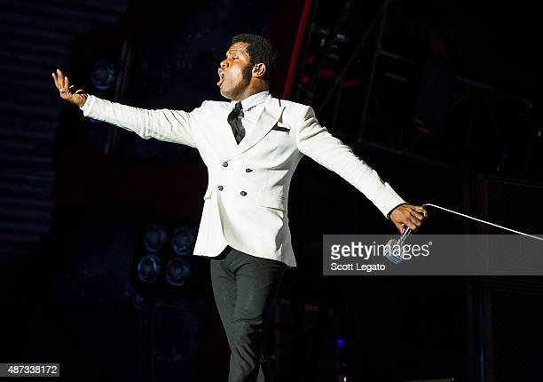Ty Taylor of Vintage Trouble performs on stage during the 'Rock or Bust' World Tour at Ford Field on September 8 2015 in Detroit Michigan