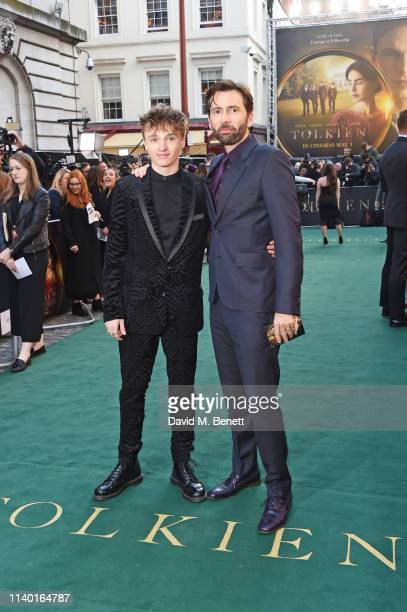 """Ty Tennant and David Tennant attend the UK Premiere of """"Tolkien"""" at The Curzon Mayfair on April 29, 2019 in London, England."""