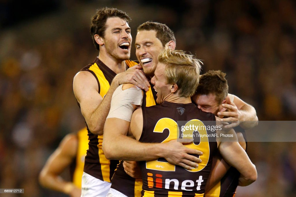 Ty Vickery of the Hawks celebrates a goal during the round nine AFL match between the Collingwood Magpies and the Hawthorn Hawks at Melbourne Cricket Ground on May 20, 2017 in Melbourne, Australia.