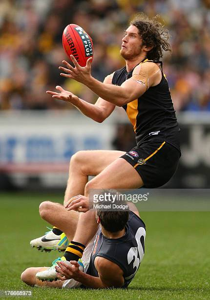 Ty Vickery of the Tigers marks the ball against Jarrad Waite of the Blues during the round 21 AFL match between the Richmond Tigers and the Carlton...