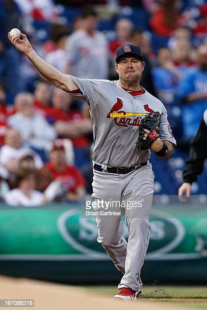Ty Wigginton of the St Louis Cardinals throws the ball to first base in the first inning of the game against the Philadelphia Phillies at Citizens...