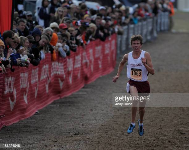 AURORA CO Ty Williams Telluride High School senior heads to the finish line and takes first place in the 1A/2A Boys Colorado Cross Country 2011 State...