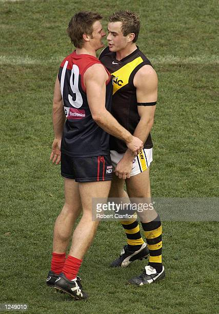 Ty Zantuck of the Tigers has words with Peter vardy of the Demons during the round 18 AFL match between the Melbourne Demons and the Richmond Tigers...