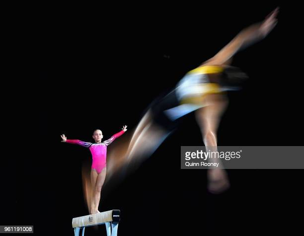 Tyarn Lees of New South Wales competes on the Beam as Ryan Inouye of Western Australia competes on the Floor during the 2018 Australian Gymnastics...