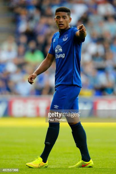 Tyas Browning of Everton in action during the Pre Season Friendly between Tranmere Rovers and Everton at Prenton Park on July 22, 2014 in Birkenhead,...