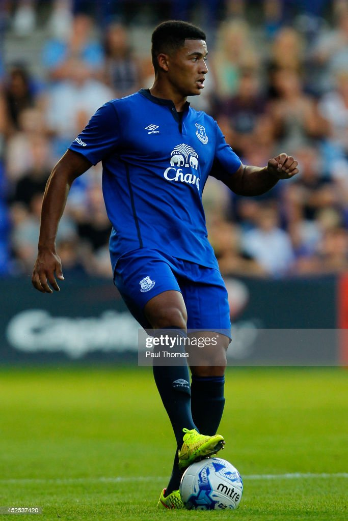 Tyas Browning of Everton in action during the Pre Season Friendly between Tranmere Rovers and Everton at Prenton Park on July 22, 2014 in Birkenhead, England.