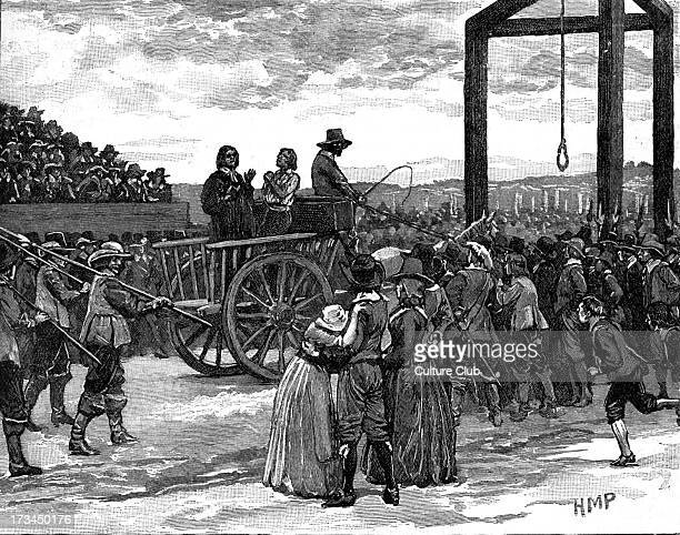Tyburn during the reign of King Charles I. Site near Marble Arch, London, notorious for its gallows which could be used for mass hangings. Shows...
