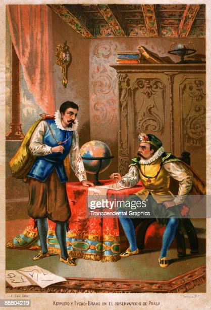 Tycho Brahe consults with Johannes Kepler in this lithographic scene printed around 1890