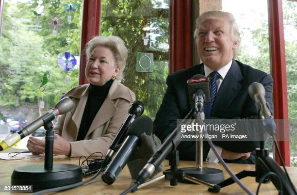Tycoon Donald Trump with sister Maryanne Trump Barry at a press conference after visiting the house in Tong on the Isle of Lewis where his mother was...