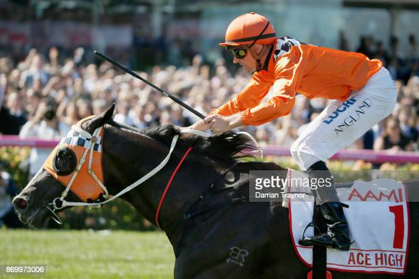 Tye Angland rides Ace High to win race 7 the AAMI Victoria Derby on Derby Day at Flemington Racecourse on November 4 2017 in Melbourne Australia