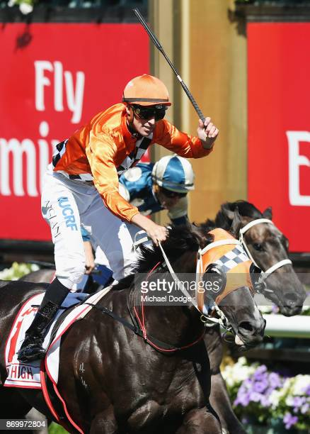 Tye Angland riding Ace High wins race 7 The AAMI Victoria Derby on Derby Day at Flemington Racecourse on November 4 2017 in Melbourne Australia