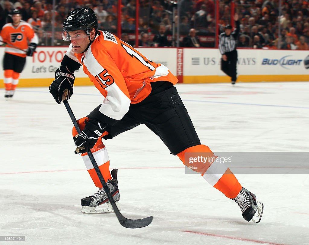 Tye McGinn #15 of the Philadelphia Flyers skates against the Tampa Bay Lightning on February 5, 2013 at the Wells Fargo Center in Philadelphia, Pennsylvania.