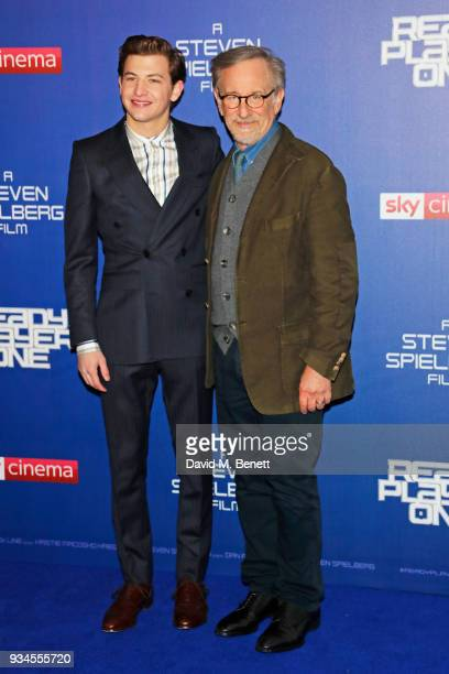 Tye Sheridan and director Steven Spielberg attend the European Premiere of 'Ready Player One' at the Vue West End on March 19 2018 in London England