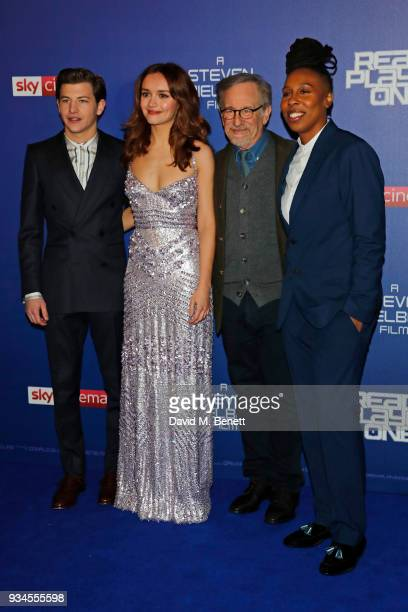 Tye Sheridan Olivia Cooke director Steven Spielberg and Lena Waithe attend the European Premiere of 'Ready Player One' at the Vue West End on March...