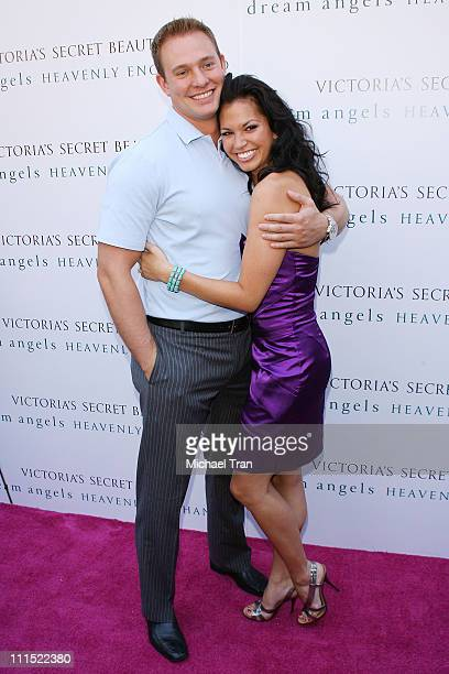 Tye Strickland and Melissa Rycroft attend the launch event for the 'Heavenly Enchanted' fragrance held at Victoria's Secret store at The Grove on...