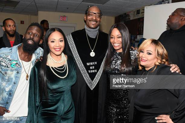 Tye Tribbett Erica Campbell Snoop Dogg EVP Head of Programming at BET Connie Orlando and Founder of Super Bowl Gospel Celebration Melanie Few at BET...