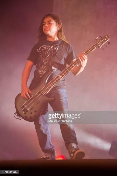 Tye Trujillo of Korn performs live on stage at Espaco das Americas on April 19 2017 in Sao Paulo Brazil