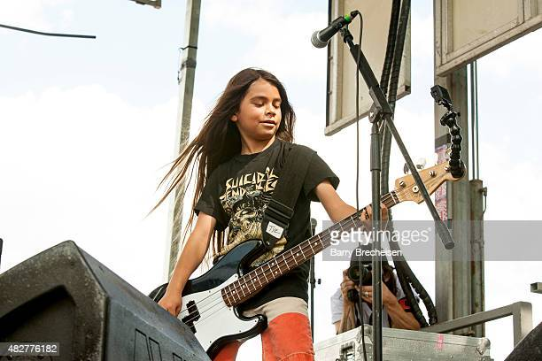 Tye Trujillo of The Helmets performs during 2015 Lollapalooza Day Two at Grant Park on August 1 2015 in Chicago Illinois