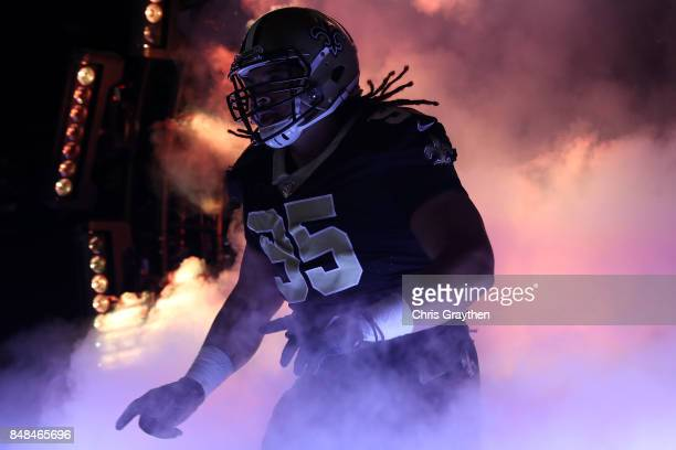 Tyeler Davison of the New Orleans Saints is introdouced prior to the game against the New England Patriots at the MercedesBenz Superdome on September...