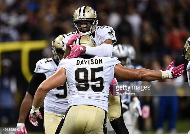 Tyeler Davison of the New Orleans Saints reacts after a sack during the fourth quarter against the Dallas Cowboys at MercedesBenz Superdome on...