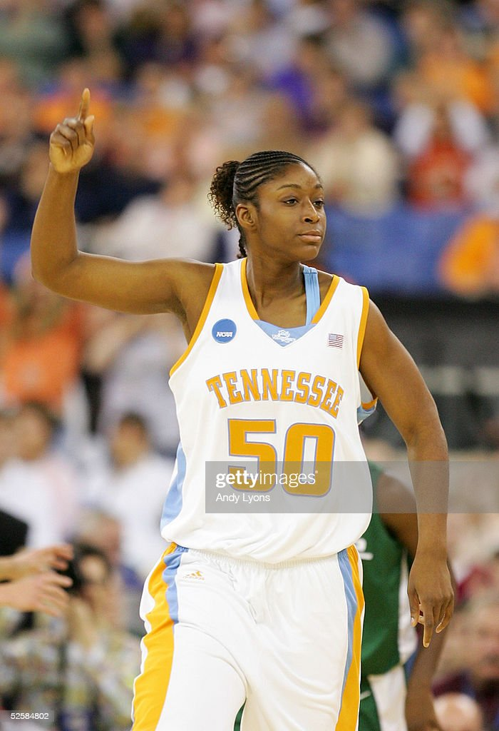 Tye'sha Fluker #50 of the Tennessee Lady Vols celebrates a basket in the game against the Michigan State Spartans in the Semifinal game of the Women's NCAA Basketball Championship on April 3, 2005 at the RCA Dome in Indianapolis, Indiana.