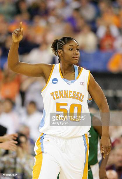 Tye'sha Fluker of the Tennessee Lady Vols celebrates a basket in the game against the Michigan State Spartans in the Semifinal game of the Women's...