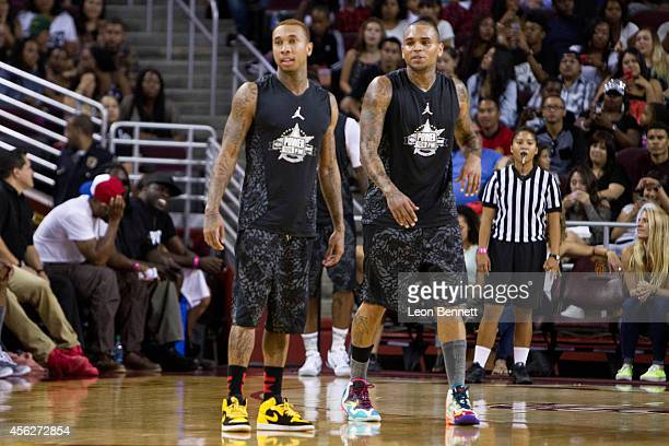 Tyga and Chris Brown attends the Power 106's AllStar Celebrity Basketball Game Benefiting Homeboy Industries at USC Galen Center on September 21 2014...