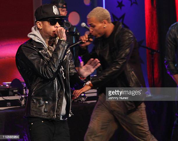 Tyga and Chris Brown perform at BET's '106 Park' on March 21 2011 in New York City
