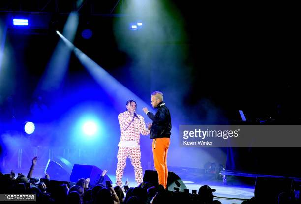 Tyga and Chris Brown performs onstage during We Can Survive A Radiocom Event at The Hollywood Bowl on October 20 2018 in Los Angeles California