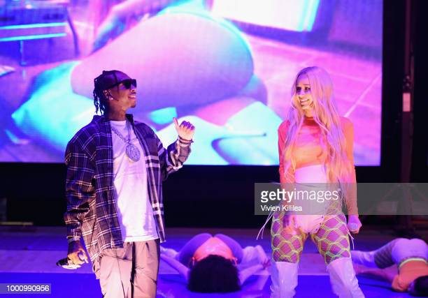 Tyga and Iggy Azalea perform at 50K Charity Challenge Celebrity Basketball Game at UCLA's Pauley Pavilion on July 17 2018 in Westwood California