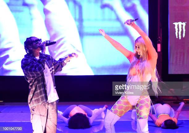 Tyga and Iggy Azalea perform at Monster Energy Outbreak Presents $50K Charity Challenge Celebrity Basketball Game at UCLA's Pauley Pavilion on July...