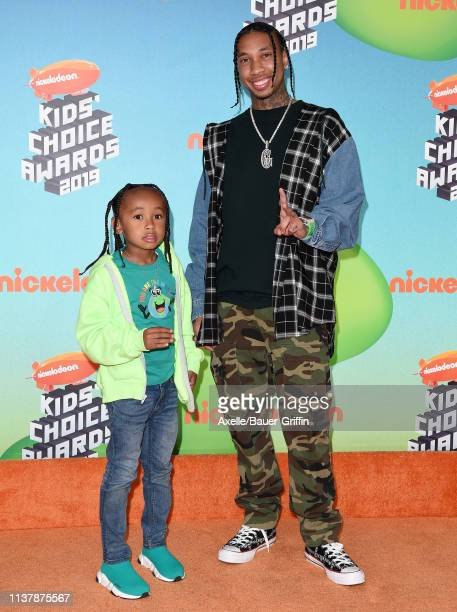 Tyga and King Cairo Stevenson attend Nickelodeon's 2019 Kids' Choice Awards at Galen Center on March 23 2019 in Los Angeles California