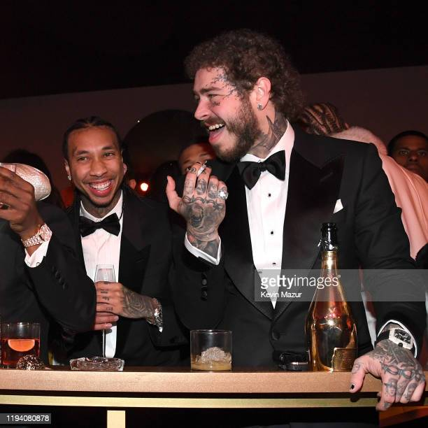 Tyga and Post Malone attend Sean Combs 50th Birthday Bash presented by Ciroc Vodka on December 14 2019 in Los Angeles California