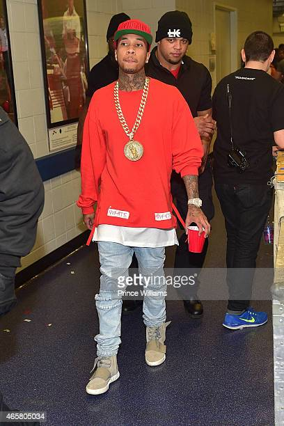 Tyga backstage at Trey Songz and Chris Brown in concert at Phillips Arena on March 2 2015 in Atlanta Georgia