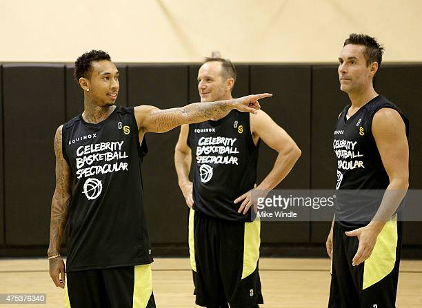 Tyga Clark Gregg and Jay Harrington attend the Equinox Celebrity Basketball Spectacular To Benefit Sports Spectacular on May 30 2015 in West Los...