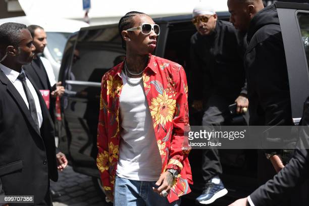Tyga is seen arriving at Louis Vuitton fashion show during Paris Fashion Week Menswear Spring/Summer 2018 on June 22 2017 in Paris France