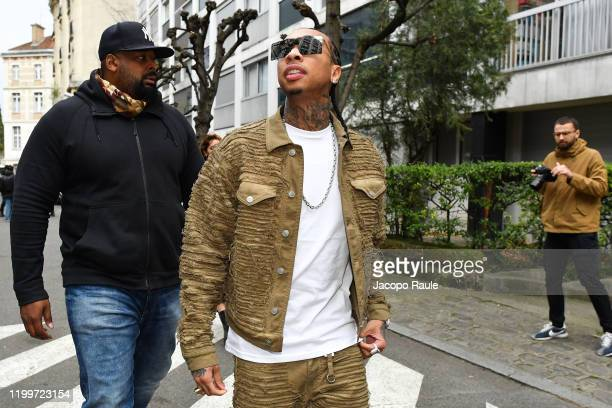 Tyga is seen arriving at Y Project fashion show during Paris Fashion Week - Menswear F/W 2020-2021 on January 15, 2020 in Paris, France.