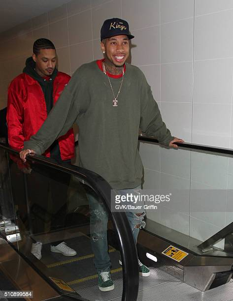 Tyga is seen at LAX on February 17 2016 in Los Angeles California