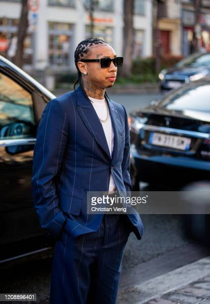 Tyga is seen outside Lanvin during Paris Fashion Week Womenswear Fall/Winter 2020/2021 Day Three on February 26 2020 in Paris France