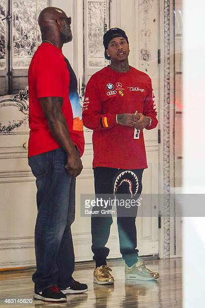 Tyga is seen shopping at Maison Martin Margiela in Beverly Hills on February 10 2015 in Los Angeles California