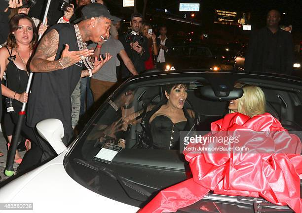 Tyga Kris Jenner Kylie Jenner are seen on August 09 2015 in Los Angeles California
