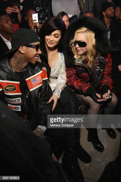 Tyga Kylie Jenner and Madonna attend the Philipp Plein collection during New York Fashion Week The Shows at New York Public Library on February 13...