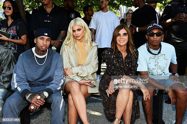 Tyga Kylie Jenner Carine Roitfeld and Pharrell Williams attend the Kanye West Yeezy Season 4 fashion show on September 7 2016 in New York City