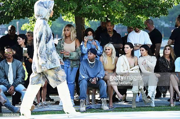 Tyga Kylie Jenner Kendall Jenner Kim Kardashian and Carine Roitfeld attend the Kanye West Yeezy Season 4 fashion show on September 7 2016 in New York...