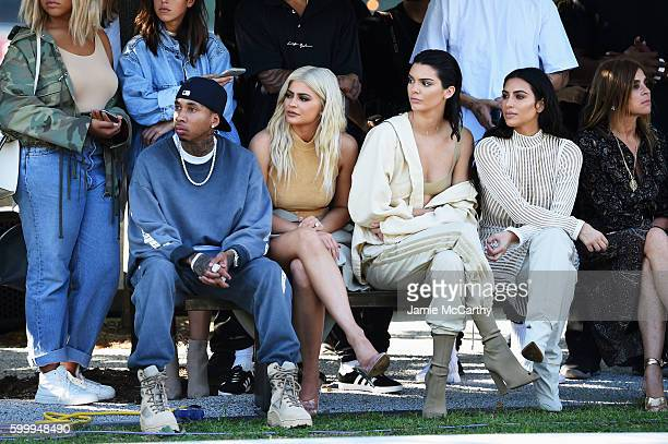 Tyga Kylie Jenner Kendall Jenner Kim Kardashian and Carine Roitfeld attend the Kanye West Yeezy Season 4 fashion show on September 7 2016 in New York...
