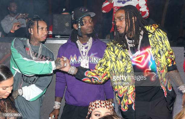 """Tyga, Offset and Quavo attend Quavo's Album Launch Party For """"Quavo Huncho"""" at 1OAK on October 16, 2018 in West Hollywood, California."""